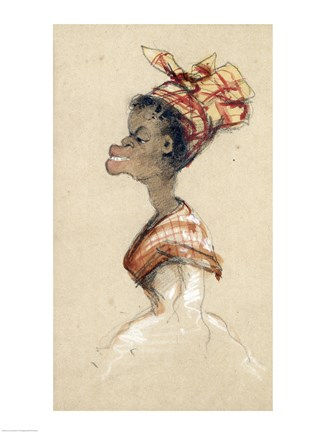 Framed Black Woman Wearing a Headscarf, 1857 Print