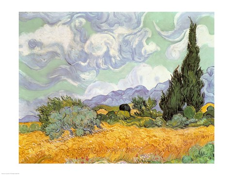 Framed Wheatfield with Cypresses, 1889 Print