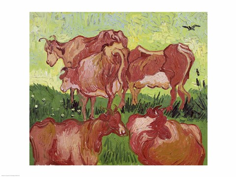 Framed Cows, 1890 Print