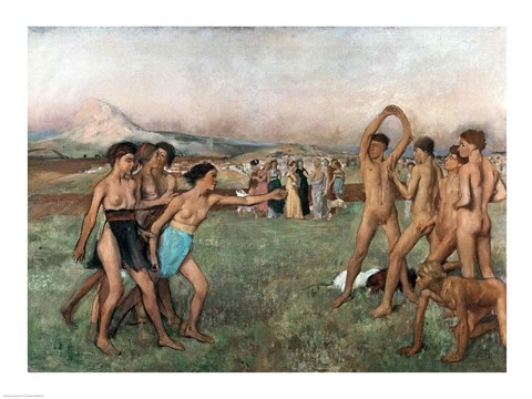 Framed Young Spartans Exercising, c.1860 Print