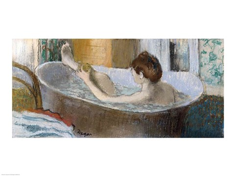 Framed Woman in her Bath, Sponging her Leg, c.1883 Print