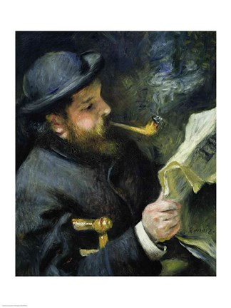 Framed Claude Monet reading a newspaper Print