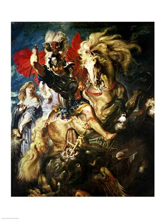 St George And The Dragon C 1606 Fine Art Print By Peter