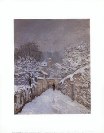 Framed Snow at Louveciennes, France, 1878 Print