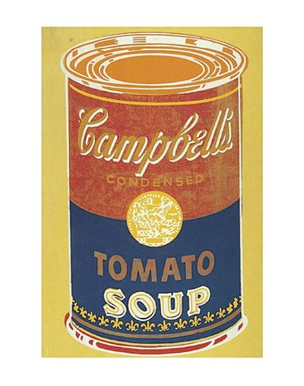 Framed Colored Campbell's Soup Can, 1965 (yellow & blue) Print