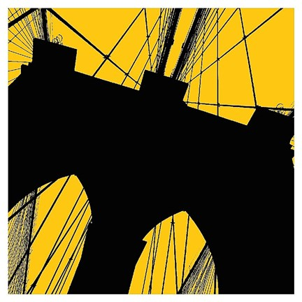 Framed Brooklyn Bridge (yellow) Print