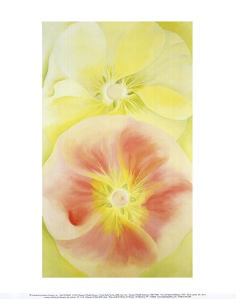 Framed Pink and Yellow Hollyhocks, 1952 Print