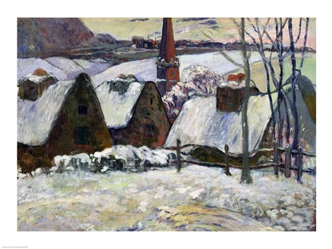 Framed Breton village under snow, 1894 Print