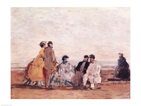 Framed On the Beach at Trouville, c.1865 Print