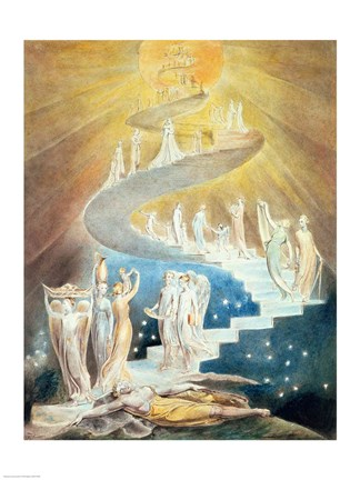 Jacob S Ladder Fine Art Print By William Blake At