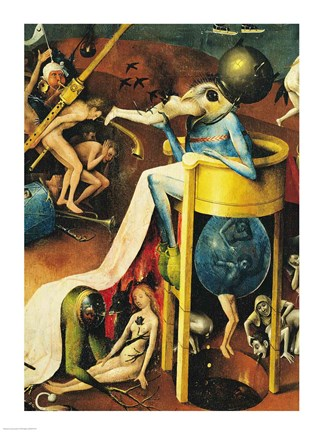 Framed Garden Of Earthly Delights: Hell, Right Wing Of Triptych, Detail Of  Blue