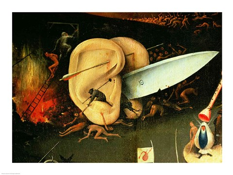 Framed Garden Of Earthly Delights: Hell, Right Wing Of Triptych, Detail Of  Ears