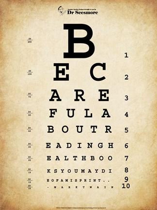 Mark Twain Eye Chart Fine Art Print By Unknown At Fulcrumgallery