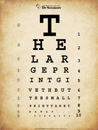 Tom Waits Eye Chart Fine Art Print By Unknown At Fulcrumgallery