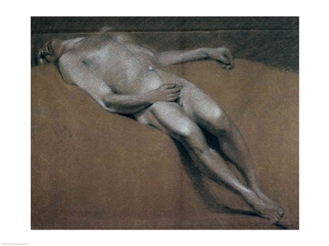 Framed Study of a recumbent male nude Print