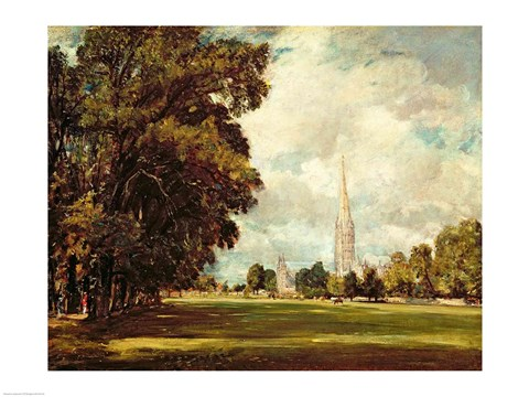 Framed Salisbury Cathedral from Lower Marsh Close, 1820 Print
