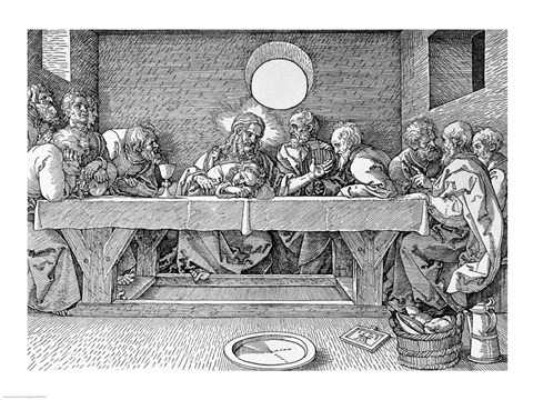 Framed Last Supper, pub. 1523 Print