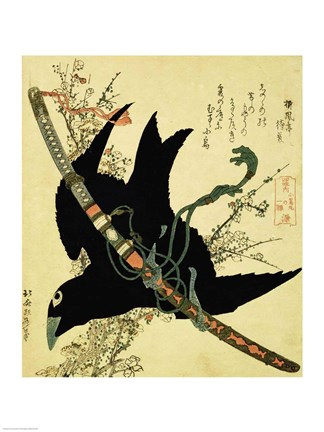 Framed Little Raven with the Minamoto clan sword Print