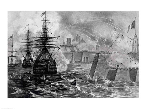 Framed Victorious Bombardment of Vera Cruz by the United Forces of the Army and Navy of the US Print