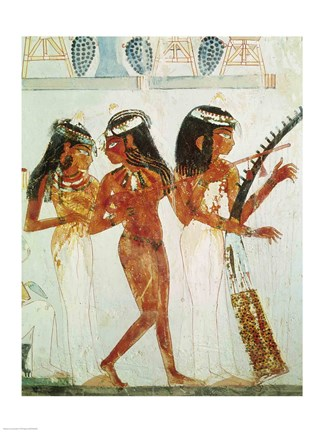Framed Musicians and a Dancer, from the Tomb of Nakht Print