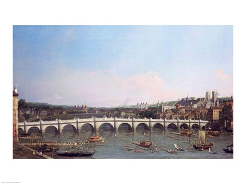 Framed Westminster Bridge from the North with Lambeth Palace in distance Print