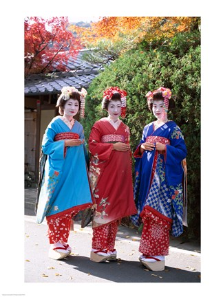 Framed Three geishas, Kyoto, Honshu, Japan (posed) Print