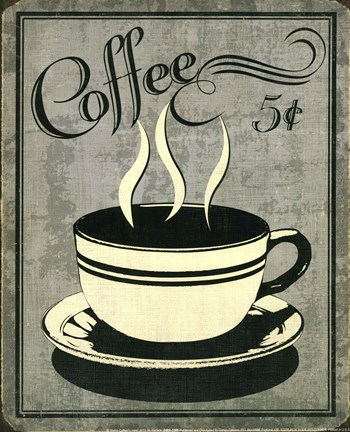 Framed Retro Coffee I Print