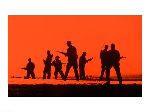 Framed Silhouette of army soldiers, US Military Special Forces Print