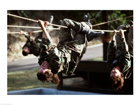 Framed U.S. Air Force Trainees on Obstacle Course photography Print