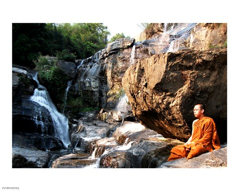 Framed Buddhist Monk In Mae Klang Waterfall Print