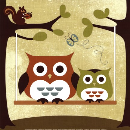 Framed Two Owls on Swing Print