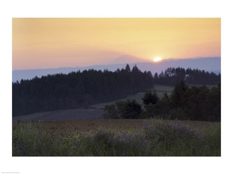 Framed Panoramic view of a sunrise, Oregon, USA Print