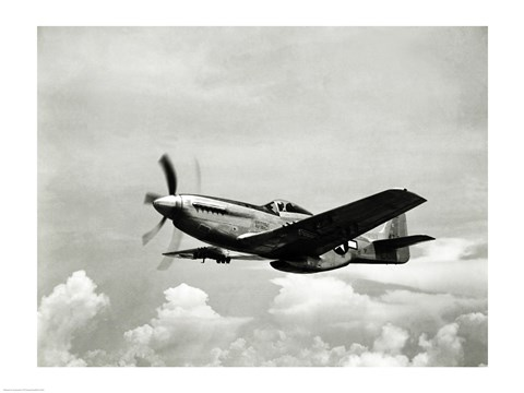 Framed Low angle view of a military airplane in flight, F-51 Mustang Print