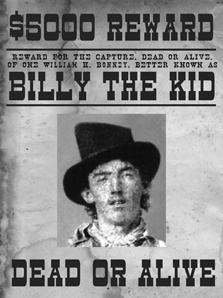 Billy The Kid Wanted Poster Fine Art Print By Unknown At