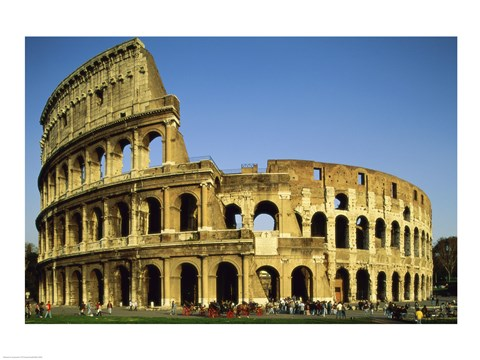 Framed Low angle view of a coliseum, Colosseum, Rome, Italy Landscape Print