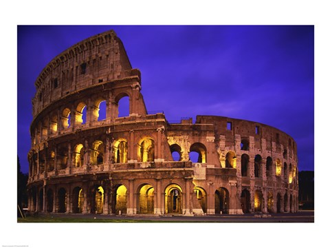 Framed Low angle view of a coliseum lit up at night, Colosseum, Rome, Italy Print