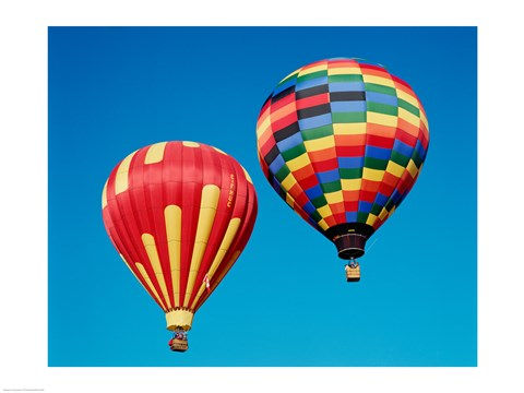 Framed 2 Rainbow Hot Air Balloons Floating Together Print