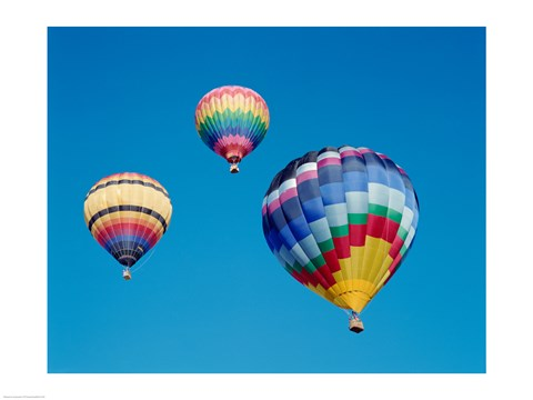 Framed 3 Multi-Colored Hot Air Balloons Flying Print