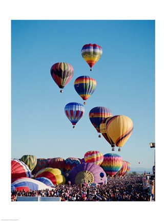 Framed Low Angle View Of Colorful Hot Air Balloons In The Sky , Albuquerque International Balloon Fiesta, Albuquerque, New Mexico, USA Print