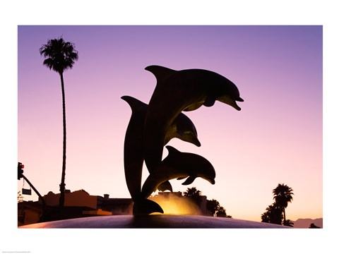 Framed Dolphin Fountain on Stearns Wharf, Santa Barbara Harbor, California, USA Print