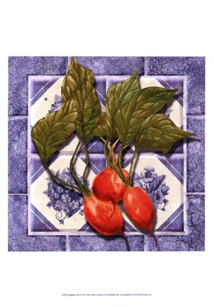 Framed Radishes Tile Print