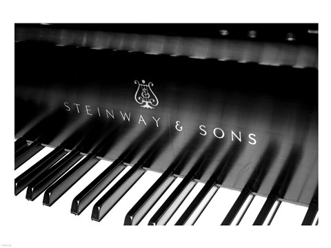 Framed Steinway & Sons, Piano Keys With Modern Logo Print