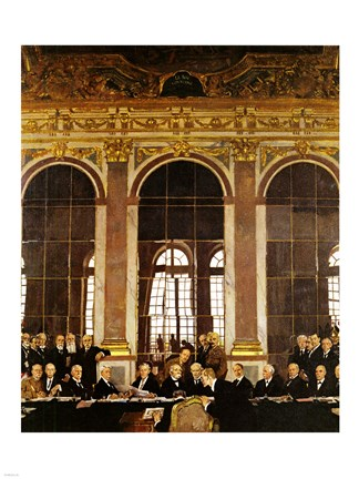 Framed William Orpen - The Signing of Verailles Treaty Print