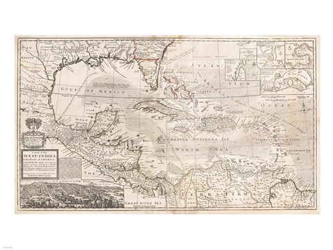 Framed 1732 Herman Moll Map of the West Indies, Florida, Mexico, and the Caribbean Print