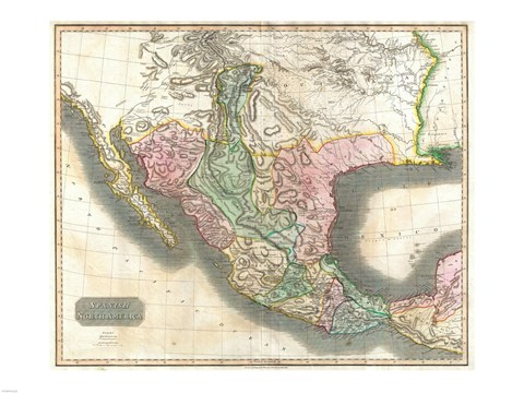 Framed 1814 Thomson Map of Mexico and Texas Print
