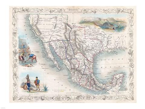 1851 tallis map of mexico texas and california