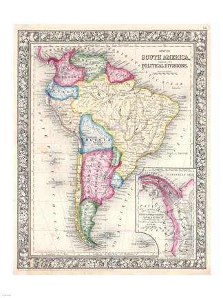 Framed 1864 Mitchell Map of Brazil, Bolivia and Chili Print