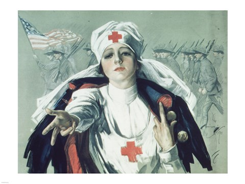 Framed Red Cross Nurse Print