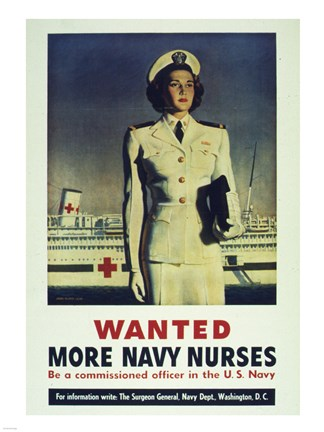 Framed Wanted! More Navy Nurses Print