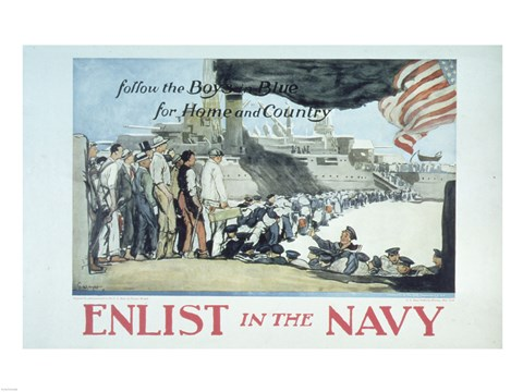 Framed Follow the Boys in Blue for Home and Country Enlist in the Navy Print
